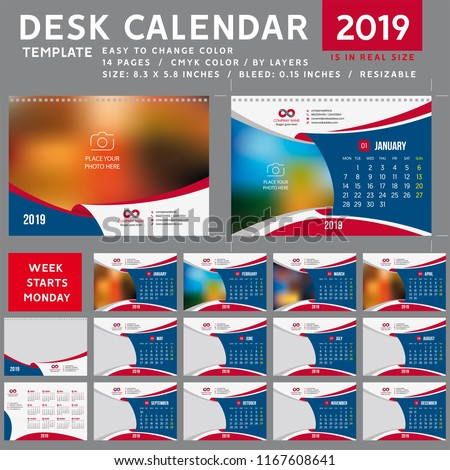 Desk calendar 2019. Desktop calendar template. Week starts on Monday. Vector Illustration. suitable for company. spiral calendar