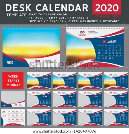 Desk calendar 2020. Desktop calendar template. Week starts on Monday. Vector Illustration. suitable for company. spiral calendar. Red calendar