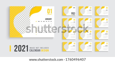 Desk calendar for 2021 design, clean 2021 calendar design, professional desk calendar design week start on sunday, yellow color clean desk calendar design.