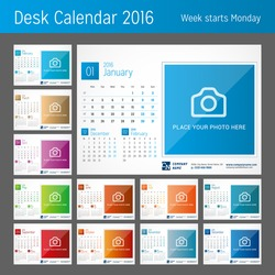 Desk Calendar for 2016 Year. Set of 12 Months. Vector Design Print Template with Place for Photo. Week Starts Monday