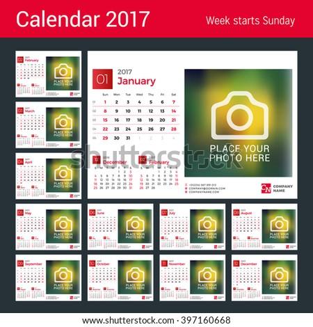 desk calendar for 2017 year