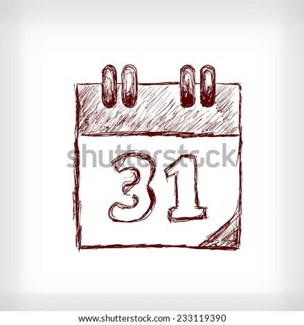 Desk calendar. Hand drawn vector illustration on light grey background