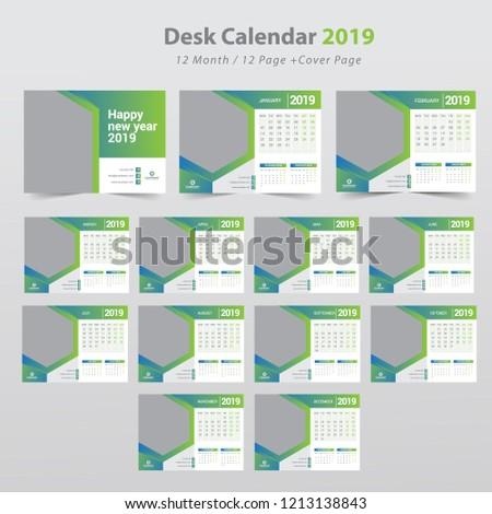 Desk calendar planner template for 2019 year. Set of 12 months. Week starts on Monday.