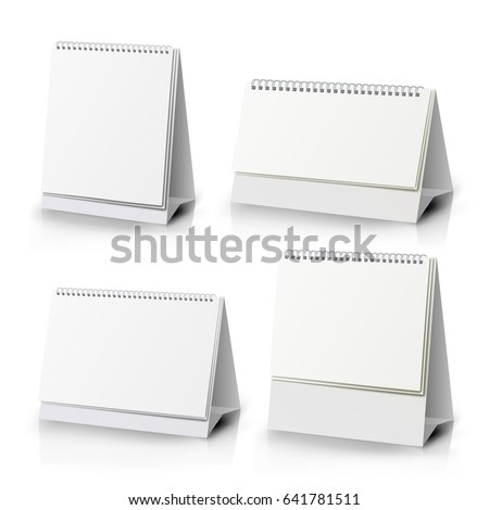 Desk Calendar Set. Realistic Standing Blank. Spiral Table Paper Desk Calendar Of Different Size On White Background Isolated Vector Illustration