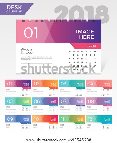 Desk Calendar 2018. Simple Colorful Gradient minimal elegant desk calendar template in white background