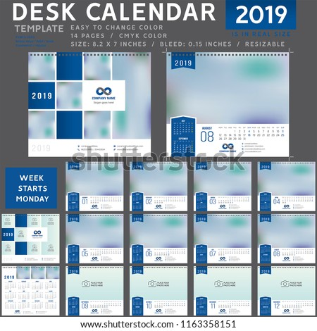 Desk calendar template for 2019 Year, Desk calendar 2020, Design Template, Week starts on Monday, spiral binding, Vector Illustration, personal organizer, blue calendar 0001