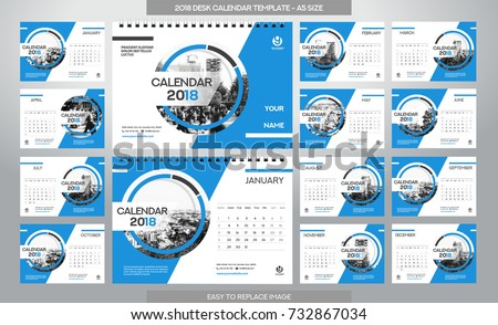 Desk Calendar 2018 template - 12 months included - A5 Size - Art Brush Theme