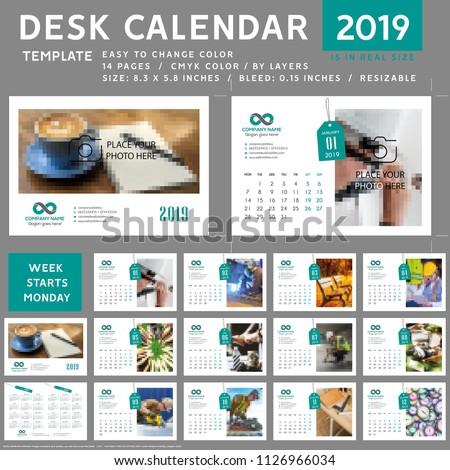 Desk calendar 2019, template vector