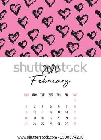 Desk Calendar 2020 template vector, February 2020 design, Planner vector diary in a memphis style, Week start on Sunday, vertical layout, vertical layout
