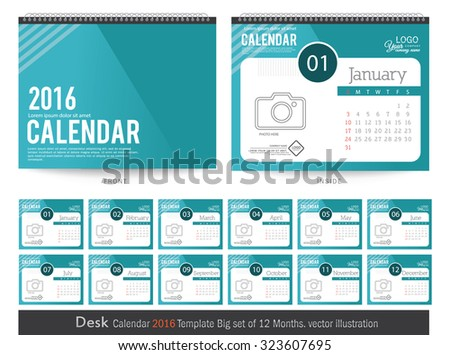 desk calendar 2016 vector design template big set of 12 months week starts sunday