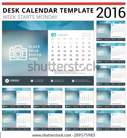 Desk Calendar 2016 Vector Design Template. Set of 12 Months. Week Starts Monday