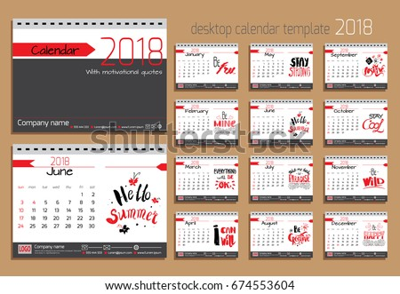 desk calendar 2018 vector design template with motivational quotes set of 12 months