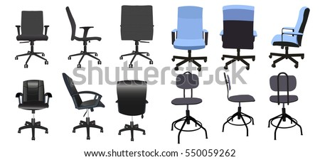 Desk chair front back side collection