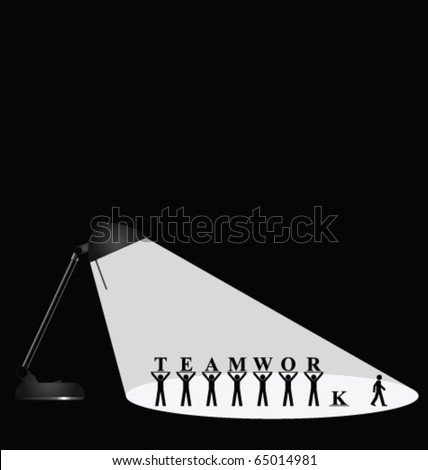 Desk lamp spotlighting teamwork isolated with copy space