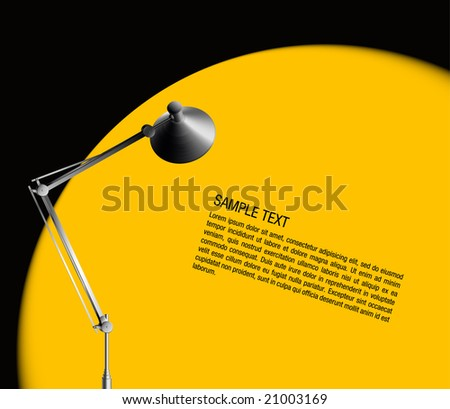 desk lamp with yellow light - vector - stock vector