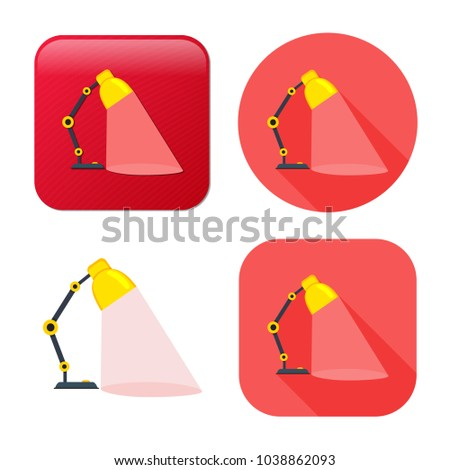 desk light lamp icon - vector spotlight illustration - electricity object