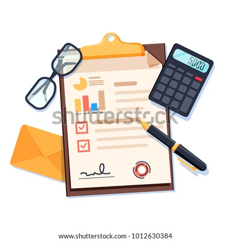 Desk top view with documents, pen and calculator and envelope. Business accounting or audit background concept