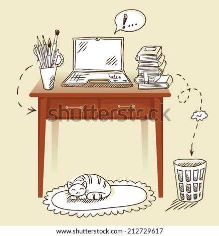 desk with accessories vector