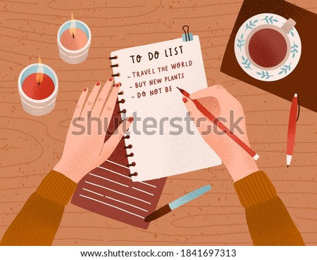 Desk with candles, a cup of coffee on it and woman's hands writing plan in notebook. Person filling to do list with goals and aims. Colorful vector flat cartoon top view illustration