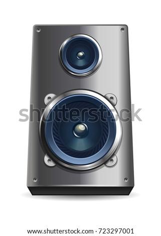 Desktop audio speaker. Metal speaker with two dynamics. Vector illustration isolated on white background