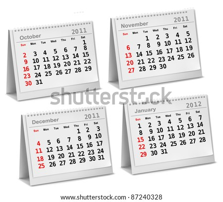Desktop calendar 2011 - October, November, December, 2012 - January. Vector illustration.