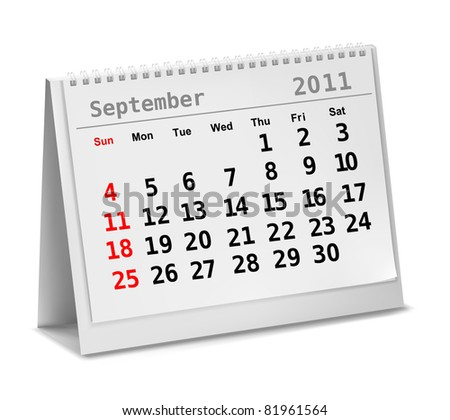 Desktop calendar 2011 - September. Vector illustration.