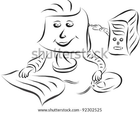 desktop computer doodle
