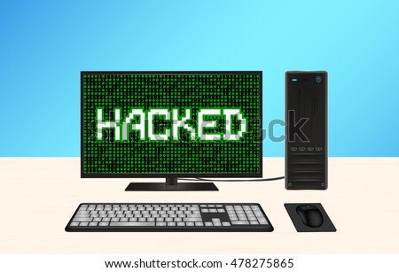 desktop computer hacked vector