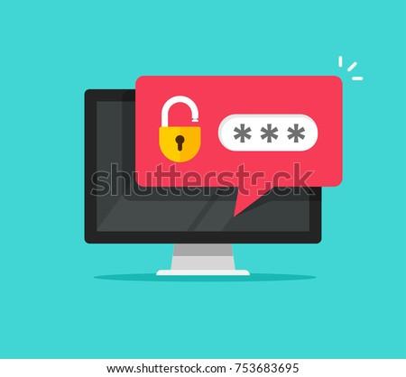 Desktop computer notice with unlocked password bubble notification, flat cartoon design of pc screen with open lock and password field note, login code concept
