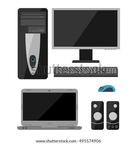 desktop computer vector and