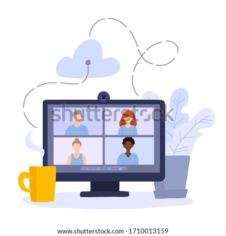 Desktop computer with group of colleagues taking part in video conference. Software for videoconferencing and online communication. Virtual work meeting. Modern vector illustration in flat style