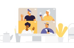 Desktop computer with group of men and women taking part in online video conference. Friends communicate virtually. Different people on the monitor screen. Vector illustration in flat design.