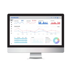Desktop computer with online statistics and data analytics layout. Digital marketing and trading template and mock up.