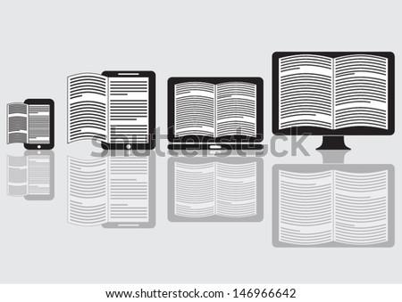 Desktop E-Book reader on background