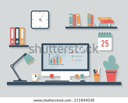 Desktop, flat design, office interior