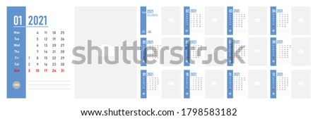Desktop Monthly Photo Calendar 2021. Corporate and business calendar. Simple monthly table photo calendar Layout for 2021 in English. Cover and 12 monthes calendar templates. Week starts from Monday.