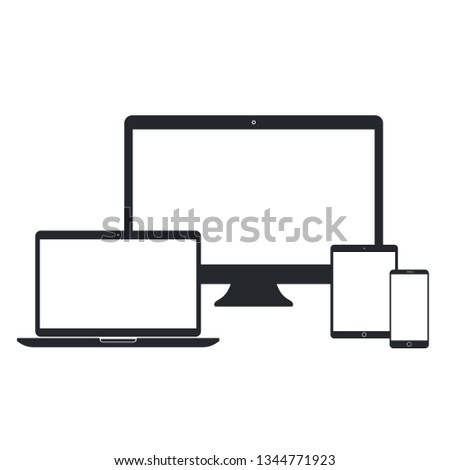 Desktop pc, laptop, tablet pc and smart phone set on white background. Technological devices template with blank screen. Simple mockup vector design.