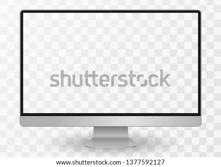 Desktop pc vector mocup. monitor display with blank screen isolated on transparent background. Vector