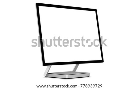 Desktop pc with blank screen - perspective side view. Vector illustration