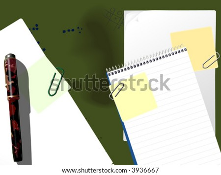 desktop pen notebook paperclip stain vector