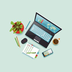 Desktop, top view. A laptop with a black note and a coffee mug lie on a blue background. The working environment of the office desk. Vector illustration symbolizing work process, working at a computer