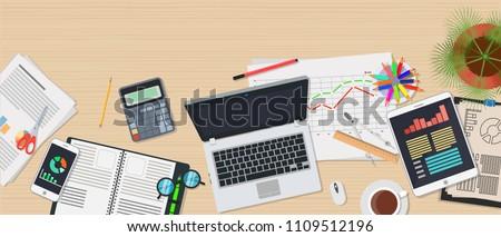 desktop top view on wooden