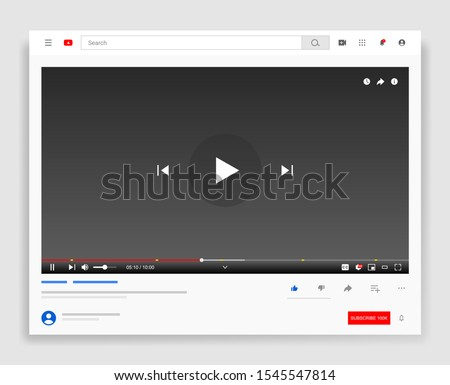Desktop web video player, modern social media Youtube  interface design template for web and mobile apps, play video online window with navigation icons. Vector illustration