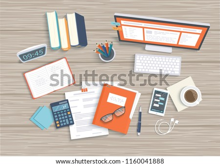 Desktop with monitor, keyboard, documents, headphones, phone, clock, notebook, coffee, calculator. Wooden table top view. Workplace background. Vector illustration