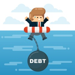 Desperate Caucasian Businessman Character in Lifebuoy Dragged Down to Sea Bottom by Big Debt Ball Cries for Help. Decline, Crisis, Default, Bankruptcy Concept. Stock Flat Cartoon Vector Illustration.