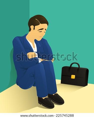 despondent businessman sitting