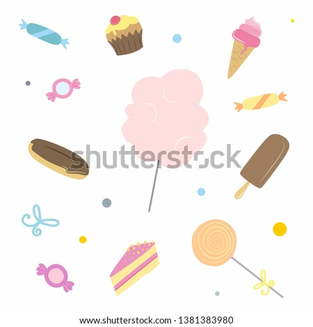 dessert and sweets icons. vector confectionery