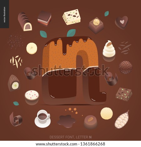 Dessert font - letter N - modern flat vector concept digital illustration of temptation font, sweet lettering. Caramel, toffee, biscuit, waffle, cookie, cream and chocolate letters Foto stock ©