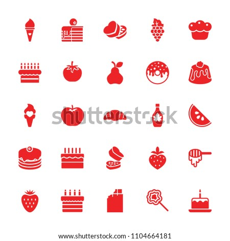 Dessert icon. collection of 25 dessert filled icons such as apple, honey, cake with one candle, chocolate, cake, donut, maple syrup. editable dessert icons for web and mobile.