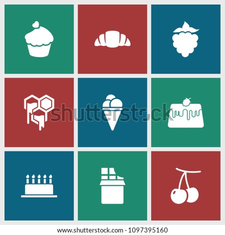 Dessert icon. collection of 9 dessert filled icons such as cherry, croissant, muffin, mulberry, honey, chocolate, cake, pie. editable dessert icons for web and mobile.